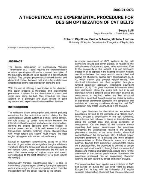 (PDF) A Theoretical and Experimental Procedure for Design
