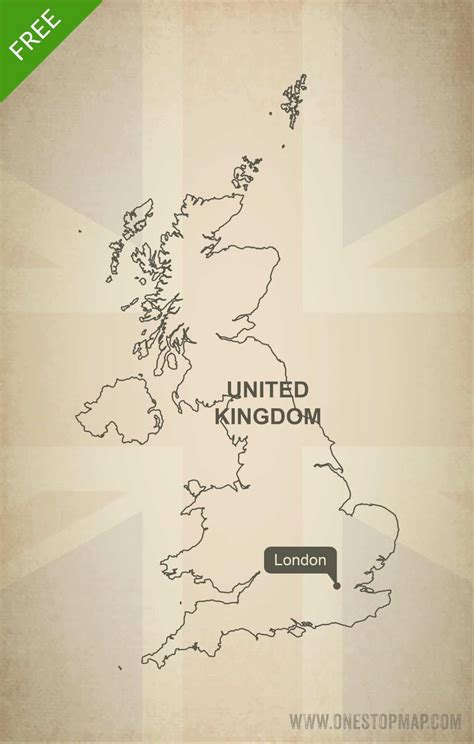 Free Vector Map of United Kingdom Outline   One Stop Map